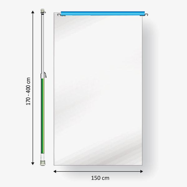 Curtain-Wall Staubschutzwand System Erweiterung Ausbaumodul 150 Skizze